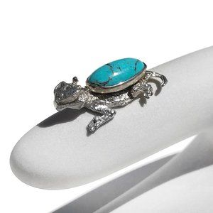 Sterling Silver Turquoise Small Horned Toad Charm